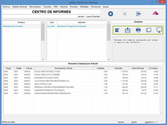 Centro de informes. Pantalla para mostrar informes por pantalla, nueva ventana, fichero, email o impresora. Solución Software ERP de Galdón Software